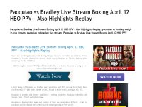 Pacquiao vs Bradley Live Stream Boxing April 12 HB