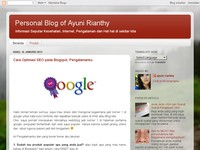 Personal Blog of Ayuni Rianthy